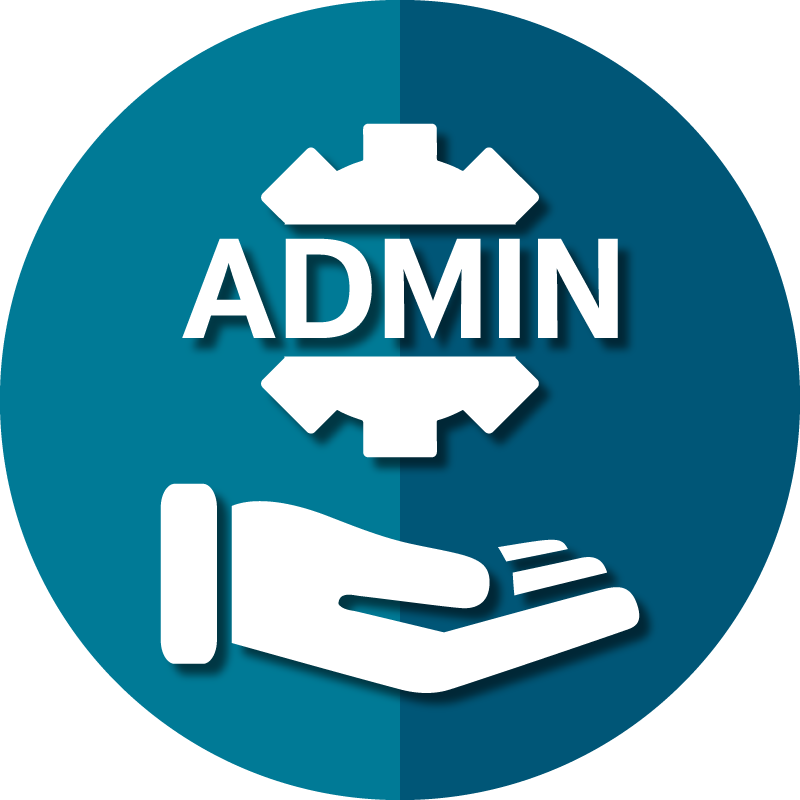 Icon for AAPACN resources for the administrator depicts caring hand and a gear.