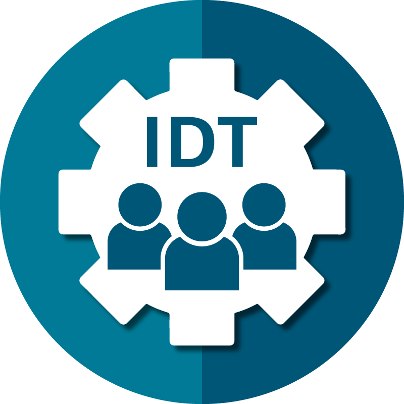 Icon for AAPACN resources for the IDT depicts a team within a gear.