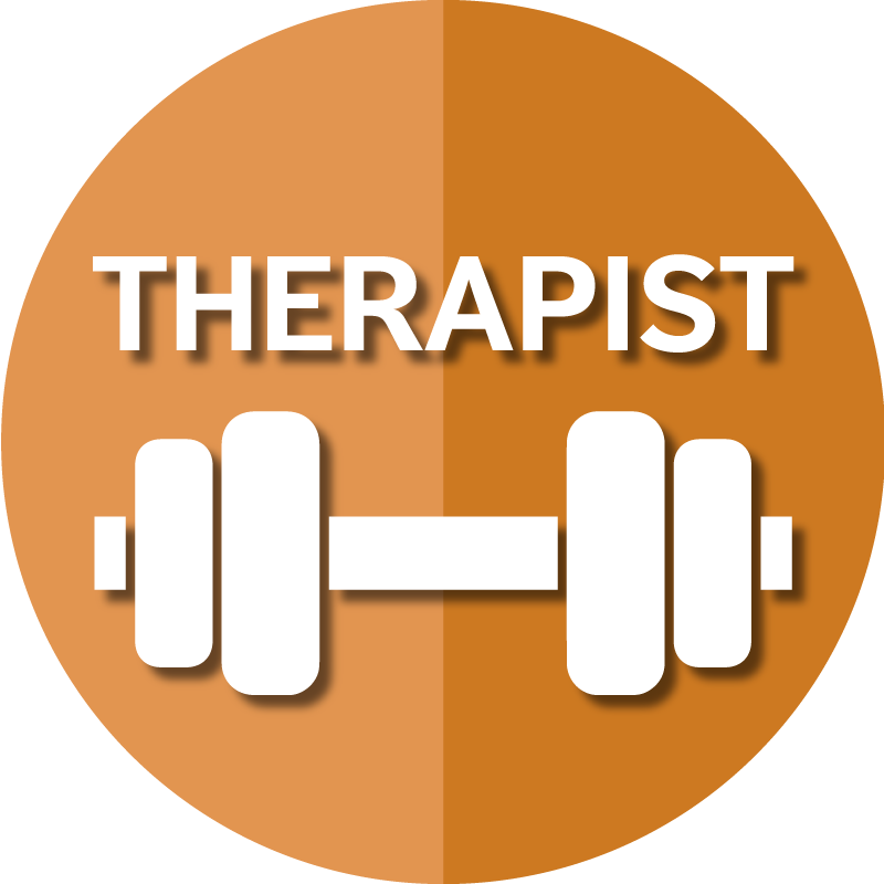 Icon for AAPACN resources for the therapist depicts a barbell.
