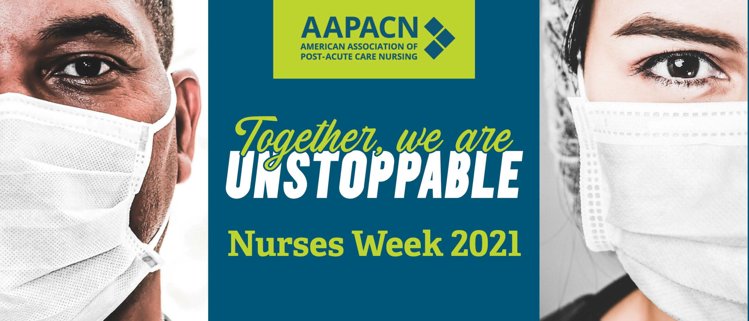 Image of two nurses in masks being honored during Nurses Week 2021